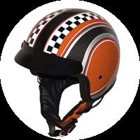 Roadstar Helm Jet-Helm Shorty Custom Checker orange